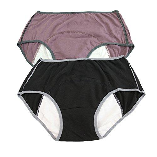 Women's Menstrual Period Soft 100% Cotton Leak Proof Brief 2 Pack US Size M/6, Black,Cameo brown