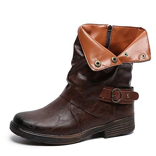 Zipper Chaussures Cuir tm Café Femmes À Vintage Bout En Talons Rond Carrés Coloré Bottes q6T8TB
