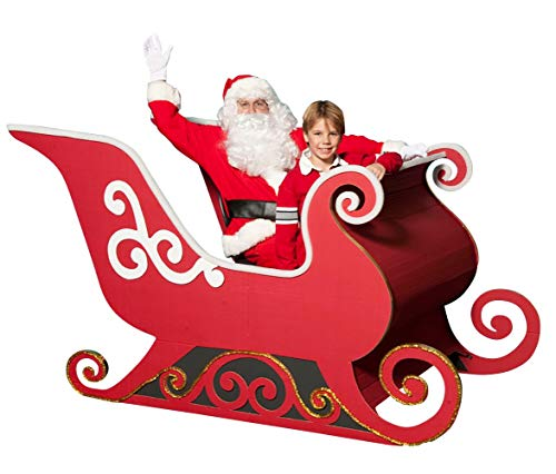 Santa's Sleigh Photo Op Kit, Red White Cardboard Christmas Decoration 47 in x 7 ft x 49 in, Assembly Required]()
