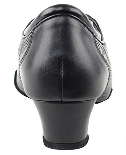 Zapatos Muy Finos Práctica Para Damas Y Tacón Cubano Competitive Dancer Series Cd1119 1.5 Heel Black Leather