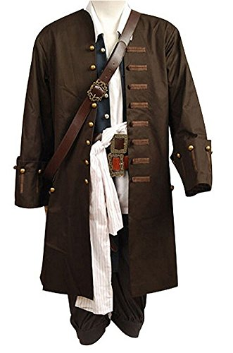 Halloween Mens Pirate Cosplay Costume Coat Shirt Uniform Suit Outfit Whole Set (Pirate Uniform)