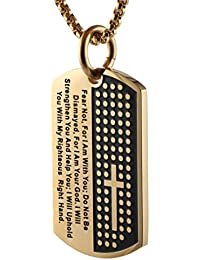 Stainless Steel Men's Carved Cross and Lord's Prayer Dog Tag Pendant Necklace Gold & Silver