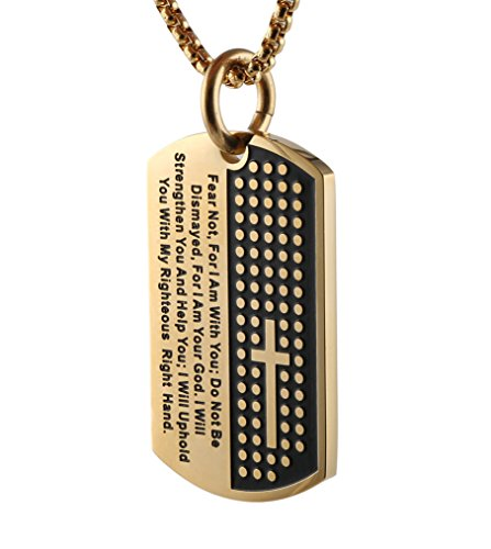 HZMAN Stainless Steel Mens Carved Cross and Lords Prayer Dog Tag Pendant Necklace (Gold)