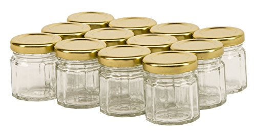North Mountain Supply 1.5 Ounce (45ml) 12 Sided Spice/Canning Jars 43 Lug - With Gold Lids - Case of 12
