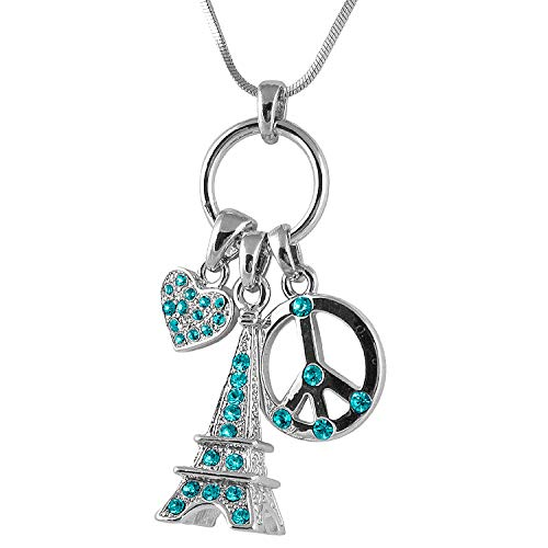 Peace Love and Paris 3D Crystal Eiffel Tower, Peace Sign, Heart Multi-Charm Necklace Paris France Jewelry Gifts for Women, Teen Girls (Teal) ()