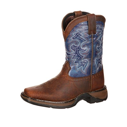 "Durango Western Boot Boys 8"" Cowboy Heel Square Toe Brown"