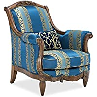 Adrianna Wood Trim Accent Chair with Feather Cushions in Rococco Blue by Aico Amini - French Victorian European