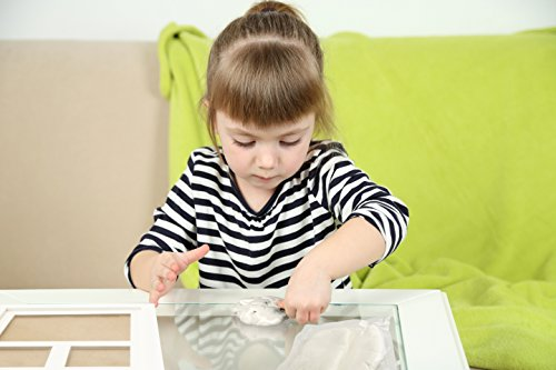 BEST-BABY-HAND-FOOTPRINT-PICTURE-FRAME-KIT-for-Boys-and-Girls-Cool-Unique-Baby-Shower-Gifts-for-Registry-Memorable-Keepsakes-Decorations-for-Room-Wall-or-Table-Decor-Premium-Clay-Wood-Frame