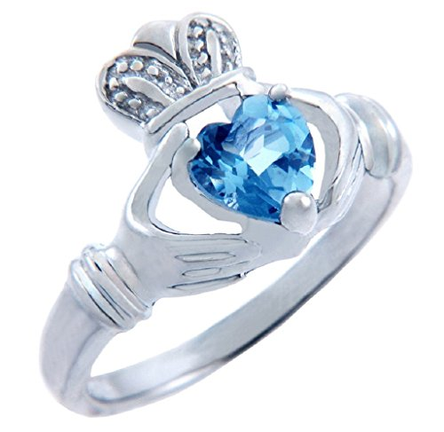 Personalized Sterling Silver Solitaire December Birthstone Heart CZ Irish Claddagh Ring (Size 5.5)