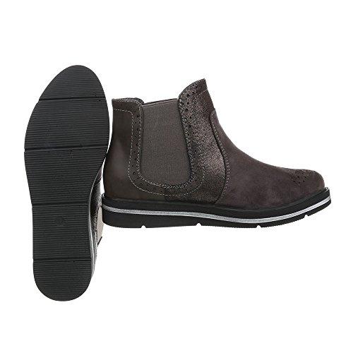 Ital-Design Chelsea Boots Damenschuhe Moderne Stiefeletten Grau A-183