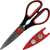 Razor Sharp Kitchen Scissors - Best Multi Purpose Shears - Soft Grip Handles - High Quality Stainless Steel Blades - Magnetic Cover - Perfect for Both Kitchen & Home Use (Red/Black)
