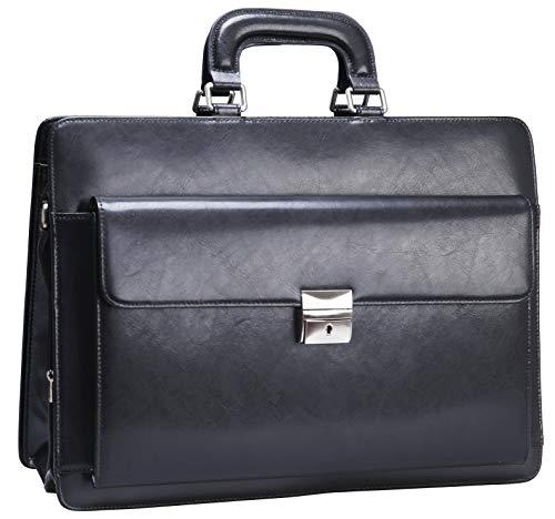 Ronts Genuine Leather Briefcase for Men Lock Bag Lawyer Attache Case 15.6 Inch Laptop Business Bag Handbag Shoulder Messenger Bag Black