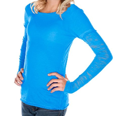 Kavio Girls Long Sleeve Fine Jersey T Shirt with Burnout Sleeves Sizes 7 to 16 Aqua