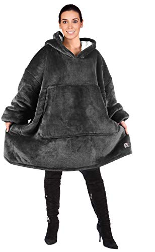 Catalonia Oversized Sherpa Hoodie Sweatshirt Blanket,Super Soft Warm Comfortable Giant Hoody with Large Front Pocket,for Adults Men Women Teens Grey Black Friday & Cyber Monday 2018