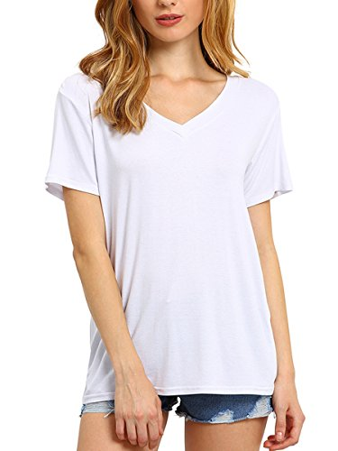 - ROMWE Women's Loose Tee Short Sleeve V Neck T-shirt Casual Top White M