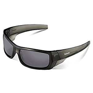 Duduma Tr601 Polarized Sports Sunglasses for Baseball Cycling Fishing Golf Superlight Frame (139 transparent frame with black lens)