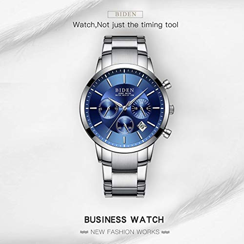 Watch,Mens Watches,Sport Casual Fashion Business Wrist Watch,Stainless Steel Waterproof Silver Blue Multifunctional Chronograph by ASWANWATCH (Image #2)