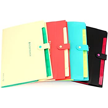 Bekith Document File Folder Poly Expanding A4 and Letter Size File Organizer, 8 Pockets, 4 Pack