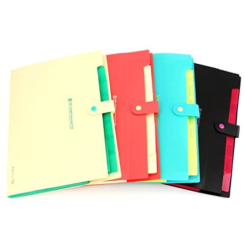 Top Bekith Document File Folder Poly Expanding A4 and Letter Size File Organizer, 8 Pockets, 4 Pack for sale