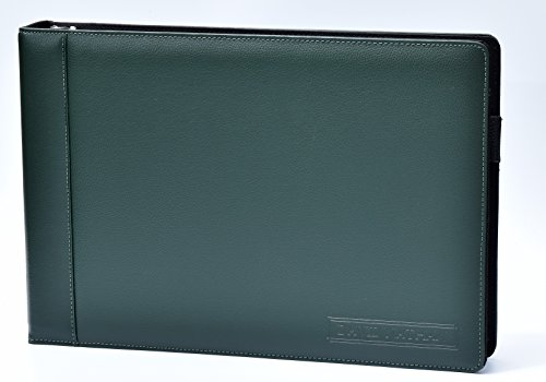 Leather 7 Ring Business Check Binder for 3 on a Page Checks By David Nathan Leather (Dark Green)