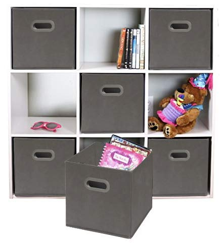 Adorn Home Essentials  Dual Handle Foldable Cloth Storage Cube  Basket, Bins, Containers and Drawer Organizer  6- Pack - Gray