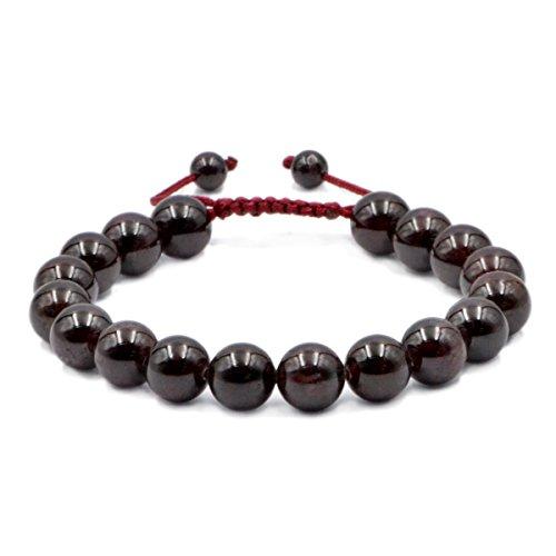 AD Beads Natural 10mm Gemstone Bracelets Healing Power Crystal Macrame Adjustable 7-9 Inch (Red Garnet) ()