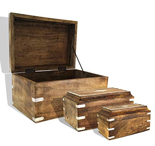 (Nested Wooden Trunk Box Chest with Metal Inlay (Set of 3) | Decorative Treasure Stash Box Old-Fashioned Antique Vintage Style for Birthday Parties Wedding Decoration Shelf (Set of 3 (Brown)))