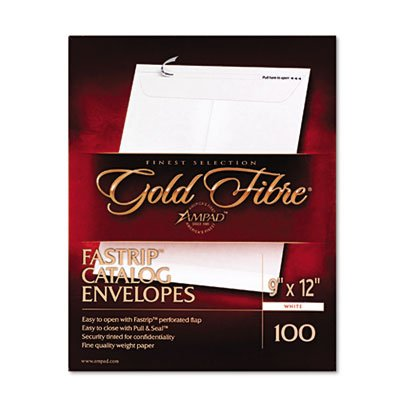 Gold Fibre Fastrip Catalog Envelope, Side Seam, 9 x 12, White, 100/Box, Sold as 100 Each
