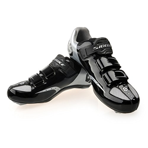 SIDEBIKE Ciclismo Road Racing zapatilla de deporte del deporte de la bicicleta MTB zapatos de ciclo Negro Plata