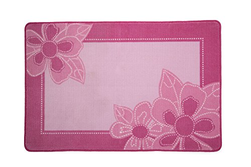 (Kids Area Rug, Girls Flowers | Children's Room Carpet in Pink with Floral Accents | Delta)