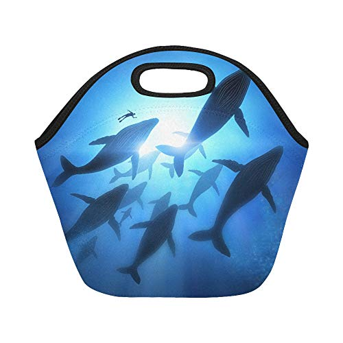 (Insulated Neoprene Lunch Bag A Diver With A Pod Of Humpback Whales Large Size Reusable Thermal Thick Lunch Tote Bags For Lunch Boxes For Outdoors,work, Office, School)
