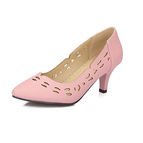 Imitated Leather Pink Shoes Womens Low Pinker Leopard Winkle Pumps Cut Hollow Out BalaMasa Uppers Pattern vqPn4TFxwx