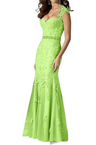 Sweet Bridal Women's Cap Sleeve Lace Applique Long Evening Dress Lime Green US12
