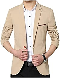 Mens Slim Fit Single One Button Blazer Jackets