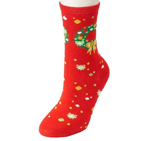 Women's Shine Holiday Socks (Wreath Red) (Kohls Wreaths)