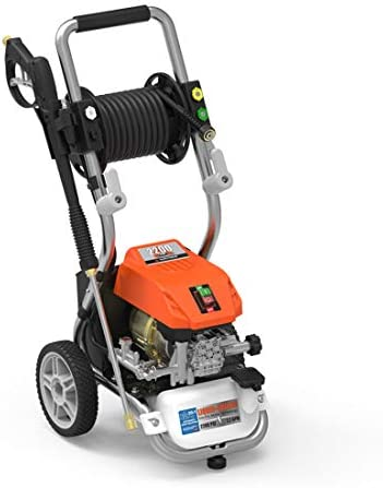 YARD FORCE YF2200LC, 1.2 GPM, 13 amp Water-Cooled Motor, 25 Live Hose Reel Bonus Turbo Nozzle, 1 Gallon Soal Tank 2200 Psi Electric Pressure Washer, Orange Black