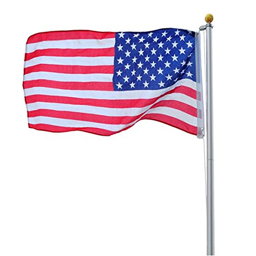 Nova Microdermabrasion 20FT Sectional Aluminum Flag Pole Kit Super Tough Heavy Duty Outdoor Flagpole W/ 3'x 5' American Flag, Gold Ball for Commercial or Residential Use