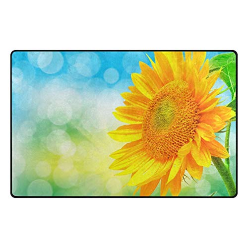 Dweobolufz Lightweight Anti-Slip Mat Indoor/Outdoor Decor Rug Doormat 23.6x15.7 Inch Home Decor Sunflower with Bubbles