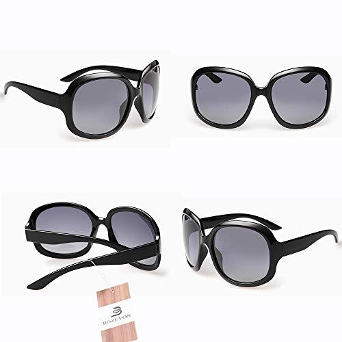 soleil Shades BOZEVON soleil Grande UV400 Femmes Lunettes pour polarisées classiques Vintage de Lunettes Noir de Protection BHRHFq