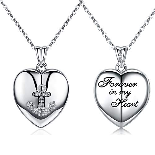 ace That Holds Pictures Heart Locket 925 Sterling Silver Cubic Zirconia Anchor Monogram Forever in My Heart Necklace with 18+2 Inches Silver Chain for Woman Girl ()