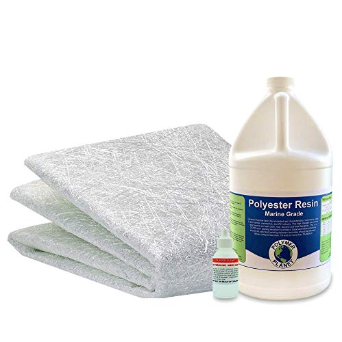 Fiberglass Repair Kit 1 Gallon of Polyester Laminating Resin and Biaxial 1708 x 50