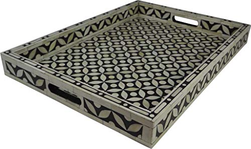 Handmade Bone Inlay Tray Decorative Serving Tray Beautifully Crafted Attractive Pattern Home Decor Kitchen Decor Perfect Gift For Loved Once (60 x 38 x 5 CM) ()