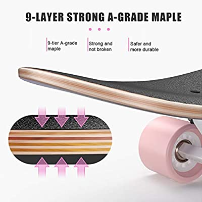 SHIJING Skateboards Complete Professional Longboard Double Kick Trick Board for Kids Boys Youths Beginners with LED Light Wheels : Sports & Outdoors