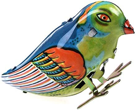 LotCow Vintage Wind Up Pecking Bird Clockwork Tin Toy Funny Clockwork Wind Up Metal Jumping Party Favor Tog Gift for Kids Children