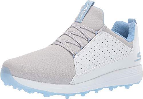 Skechers Women's Max Mojo Spikeless Golf Shoe, White/Gray/Blue, 11 W US