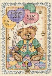 Gold Collection Petite Teddy Bear Birth Record Counted Cross 5