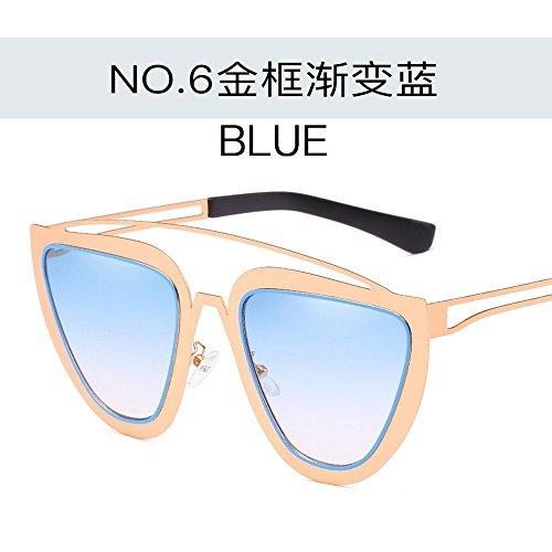 Dorado azul Gafas Mujer De Gradiente Gafas para Gafas Sol De Creativas Sol Sol Conjuntas Marco De De Gafas Azul De Moda Color degradado Planas Personalizadas De dorado Metal JUNHONGZHANG Zxgfw