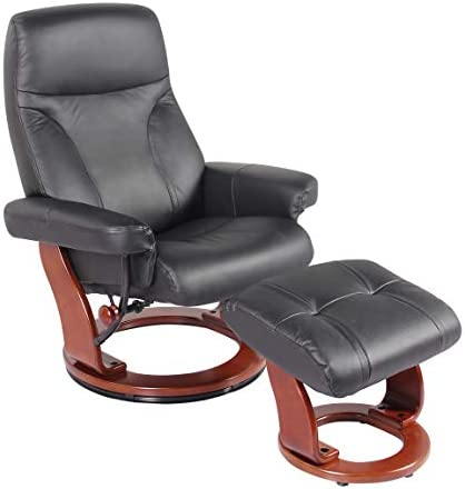 Coja by Sofa4life Leather Recliner and Ottoman, Black