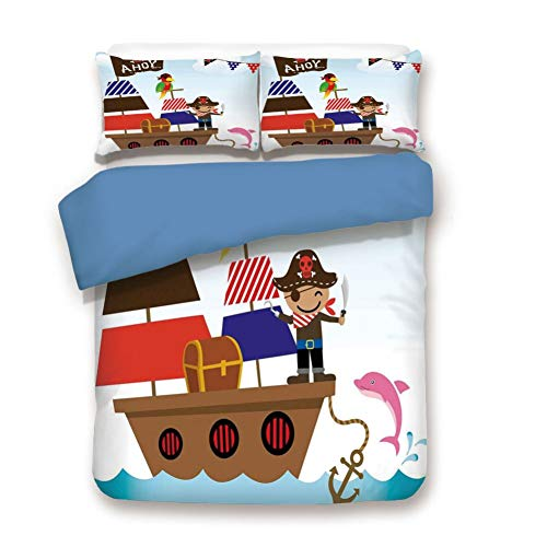 (Duvet Cover Set Twin Size, Decorative 3 Piece Bedding Set with 2 Pillow Shams,Cute Pirate Kids Treasure Chest with Ship on Ocean Background Illustration)