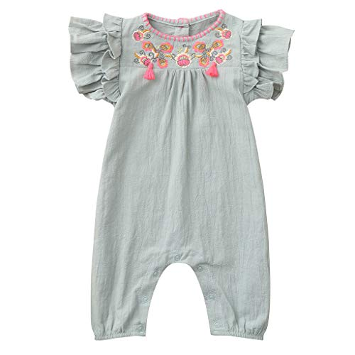 0-24M Kids Baby Girls Onesies Cotton Blend Rompers Embroidery Print Short Sleeve Summer Pajamas Bodysuits (Light Green, 12-18 M) ()